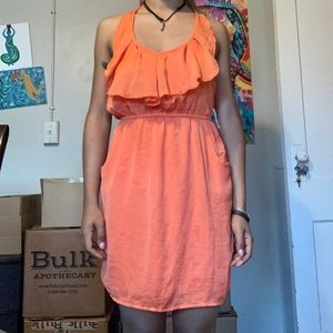 ORANGE HALTER DRESS FRINGE NECKLINE
